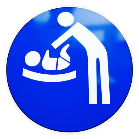 changing diaper: diaper changing table sign at a door Stock Photo