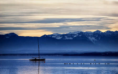 starnberger see: starnberg lake with the european alps