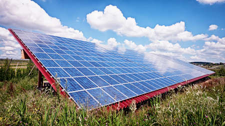 solarpanel: modern solar panels at a field