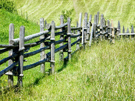 old fence at a meadow