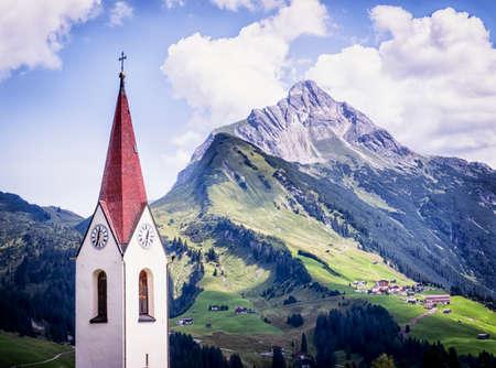 mountain meadow: biberkopf mountain in austria - european alps
