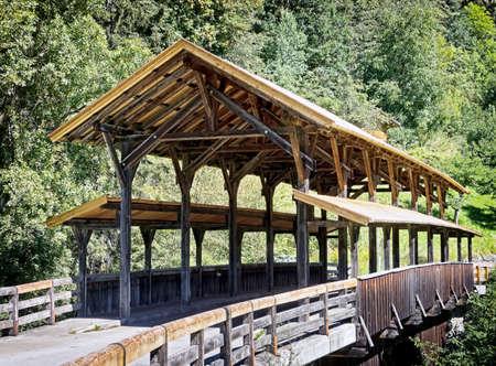 wooden railings: old wooden bridge in austria