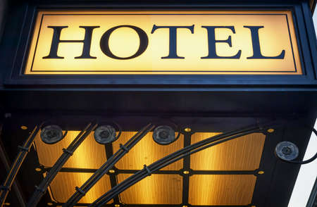 old hotel sign in italy