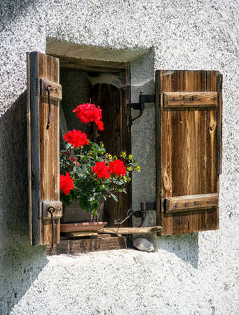 window of a typical old austrian farmhouse photo