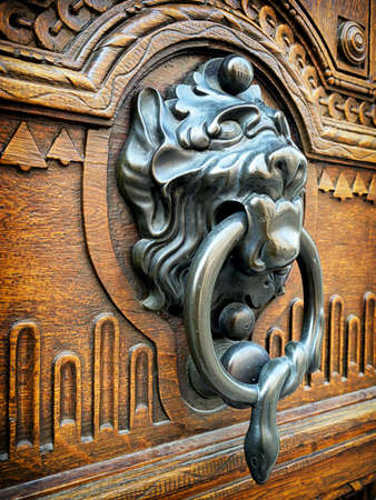 doorknocker: old doorknocker at a front door