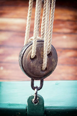 old snatch pulley at a sailboat photo