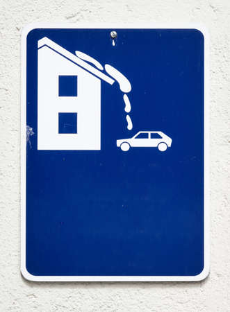 danger sign for roof avalanche photo