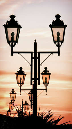 old-fashioned streetlamps in italy photo