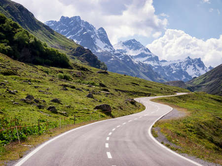 country road at the european alps Standard-Bild