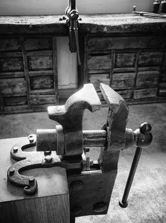 old bench vise at a workshop