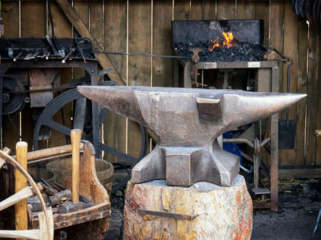 ancient blacksmith: antique workshop with anvil and forge
