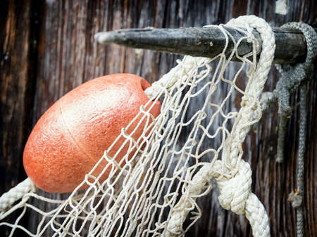 commercial fishing net: fishing net at an old port Stock Photo