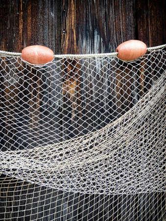 trawler net: fishing net at an old port Stock Photo