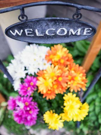 welcome sign: vieux signe de bienvenue fashioned - photo Banque d'images
