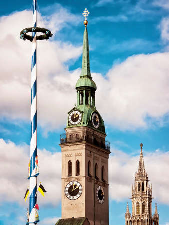 maypole: maypole and towers at munich-germany