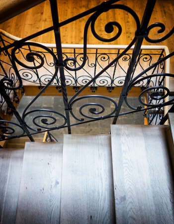 old spiral staircase at a historic building photo