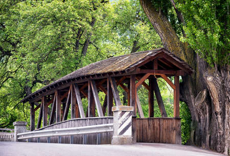 covered bridge': beautiful old wooden covered bridge Stock Photo