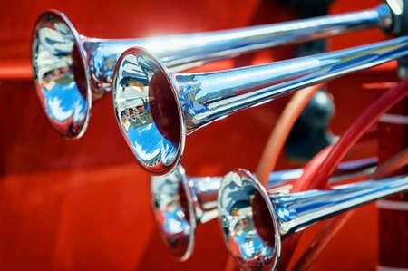antique fire truck: old horns at an antique fire truck