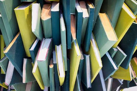 disarrangement: heap of blank books - chaos Stock Photo