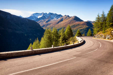 mountain road: country road at the european alps Stock Photo
