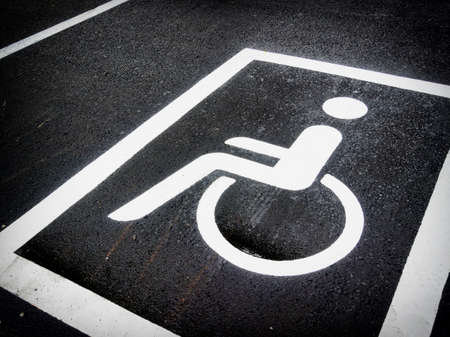 disabled parking sign: disabled parking sign - outdoors -