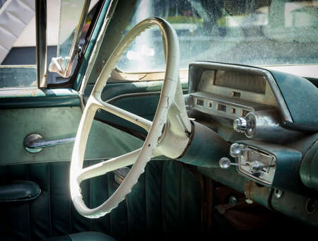 steering wheel of an old car photo