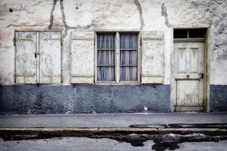 rundown: old run-down facade - ruin