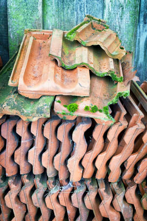 rooftiles: heap of old roof tiles Stock Photo