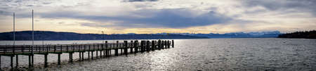 starnberger see: old wooden jetty at the starnberg lake in bavaria
