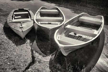 row boats at a lake photo