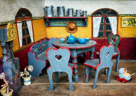 beautiful historic dollhouse - close-up photo