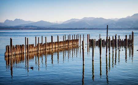 bollards: bollards at the chiemsee lake