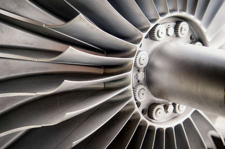 gas turbine: shovels of a turbine - nice background Stock Photo