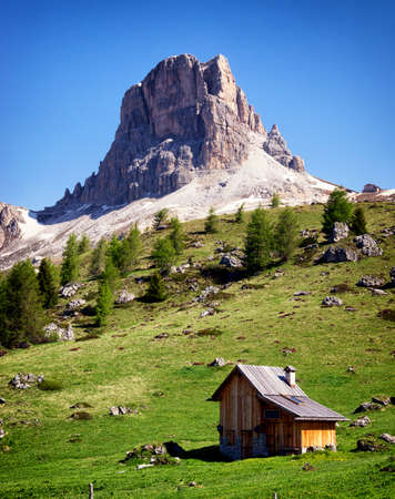 old wooden hut at the european alps