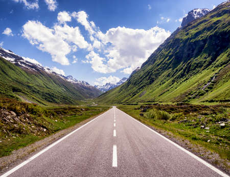 country road: country road at the european alps Stock Photo