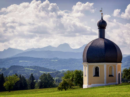 historic chapel at the european alps, irschenberg - germany photo