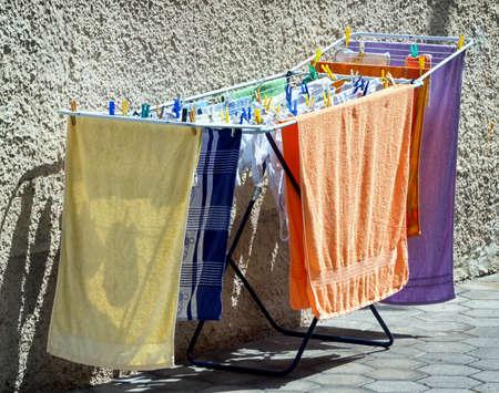 clothing rack: drying washing at a backyard
