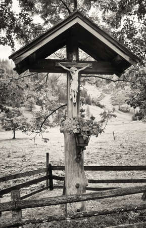 wayside: typical old Christian Wayside Shrine  at a country road