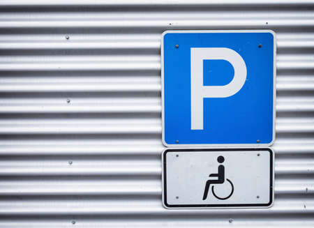 disabled parking sign: disabled parking sign - outdoors  Stock Photo