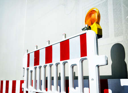 security barrier: modern security barrier at a construction site