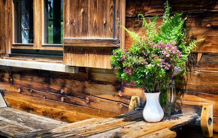 log cabin: wildflowers at a log cabin