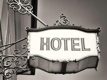 hotel sign: beautiful old hotel sign - closeup Stock Photo