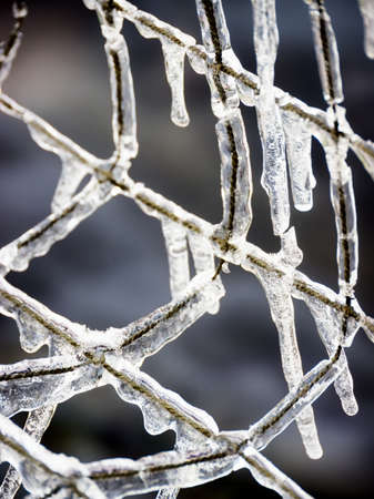 wire mesh: icicles at a wire mesh - background pattern Stock Photo