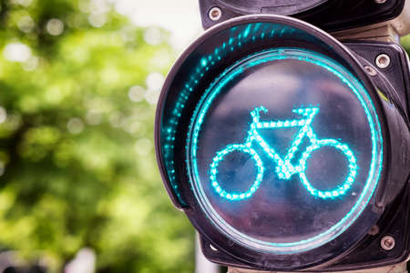 bikeway: traffic light for bikes - close up