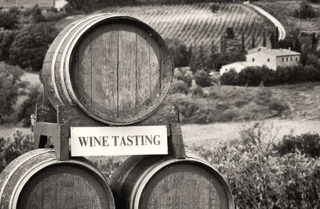 wine casks at the tuscany in a vineyard photo
