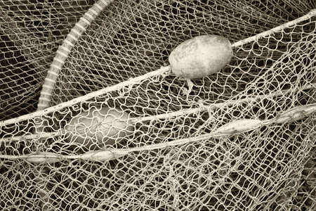 trawler net: close-up of an old fishing net Stock Photo