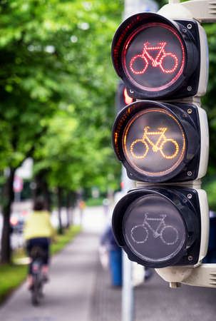 dont walk: traffic light for bikes - close up