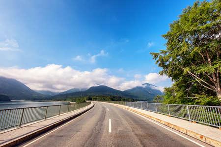 country road at the sylvenstein lake - bavaria photo