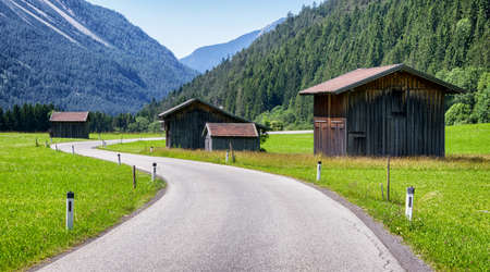 old wooden hut at the european alps photo