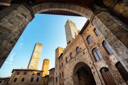 historic building in san gimignano - tuscany - italy photo